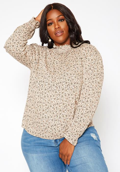 Asoph Plus Size Floral Print Long Sleeve Top
