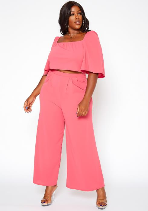 Asoph Plus Size Square Neck Top & Flare Pants Set