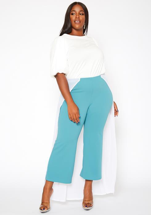 Asoph Plus Size Mesh Overlay Flare Pants
