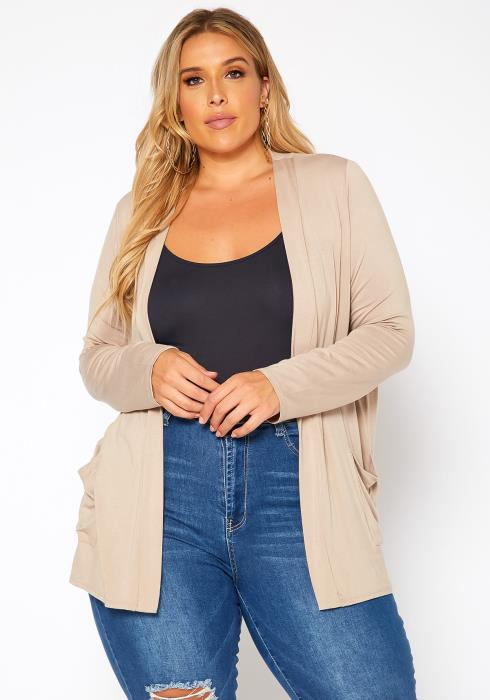 Asoph Plus Size Casual Open Front Cardigan