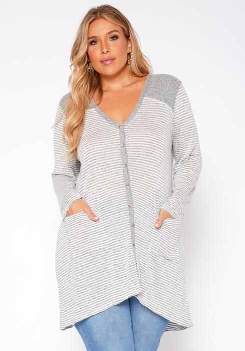 Asoph Plus Size Striped Button Front Cardigan