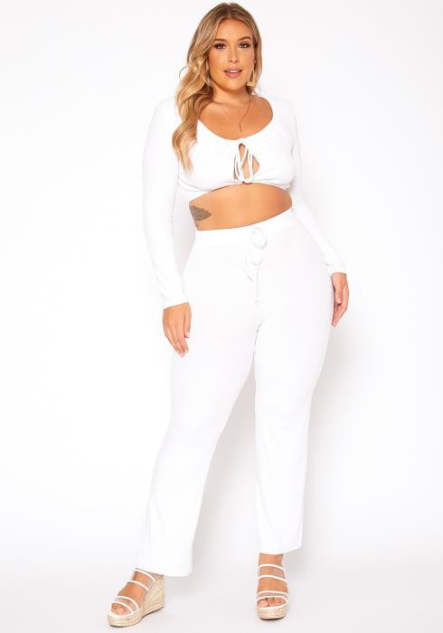 Asoph Plus Size Ribbed Knit Crop Top & Pants Set