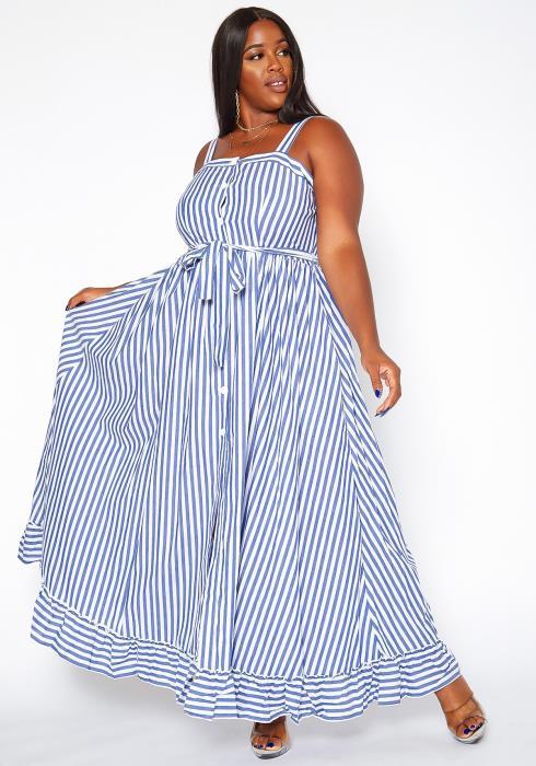 Asoph Plus Size Pin Striped Fit & Flare Maxi Dress