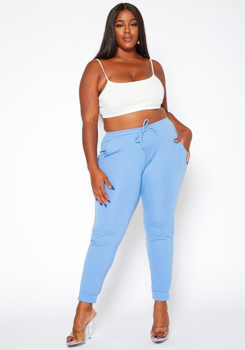 Asoph Plus Size Sleek Mid Rise Jogger Pants