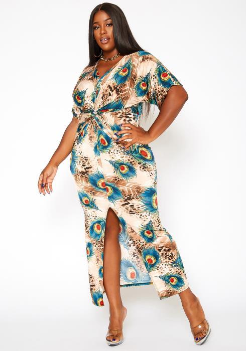 Asoph Plus Size Peacock Print Bodycon Maxi Dress