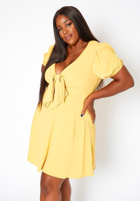 Asoph Plus Size Bow Detail Fit & Flare Mini Dress