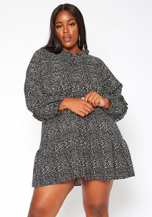 Asoph Plus Size Dotted Print Flare Mini Dress