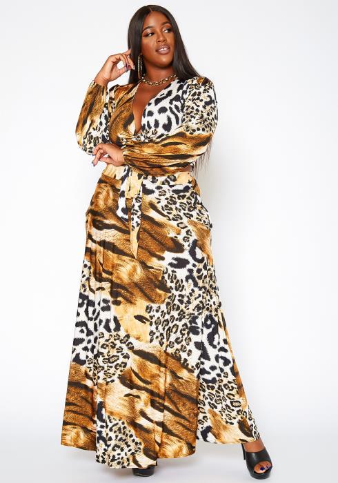 Asoph Plus Size Animal Print Crop Top & Maxi Skirt Set
