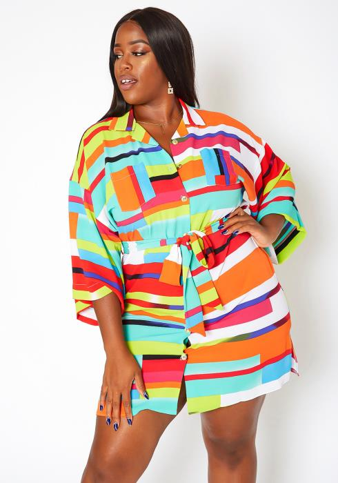 Asoph Plus Size Colorful Abstract Print Collar Mini Dress