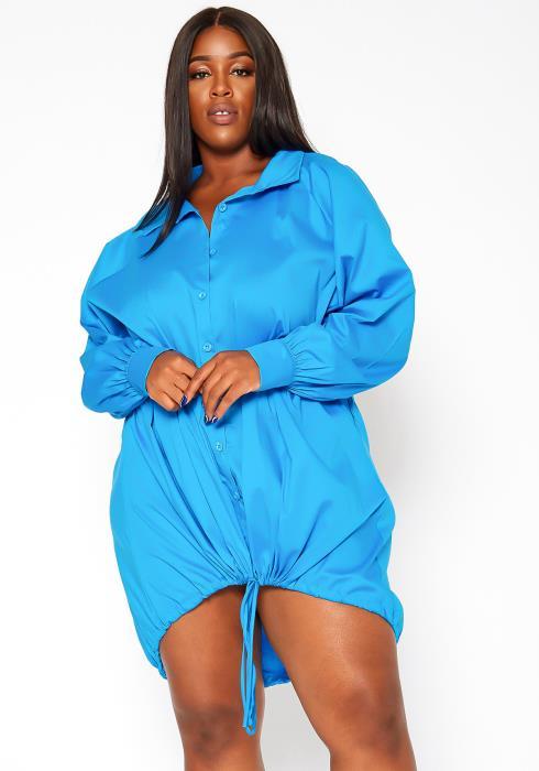 Asoph Plus Size Oversized Button Up Collar Mini Dress