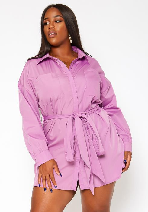 Asoph Plus Size Button Front Collar Mini Dress