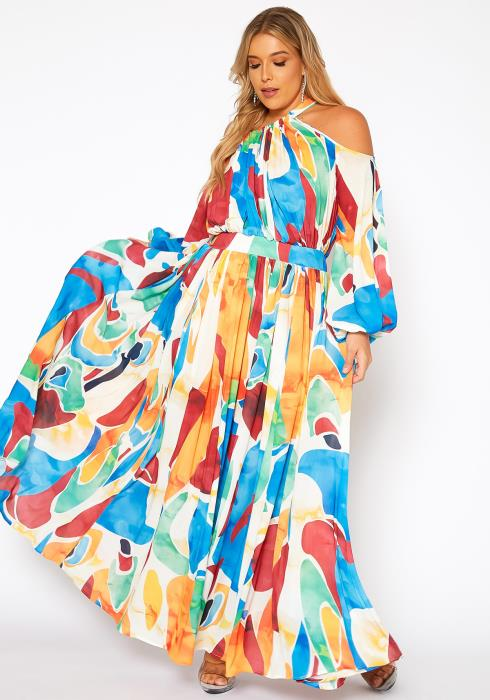 Asoph Plus Size Colorful Summer Wide Flare Maxi Dress