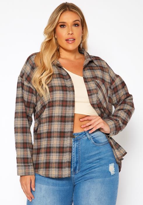 Asoph Plus Size Plaid Flannel Jacket