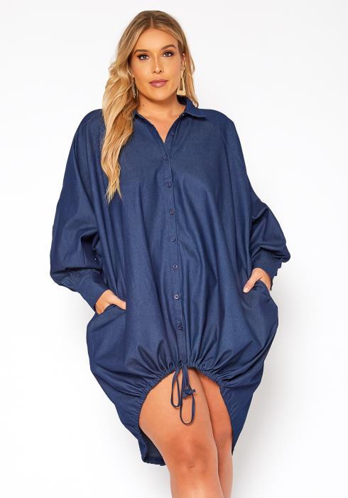 Asoph Plus Size Chambray Denim Button Up Collar Mini Dress