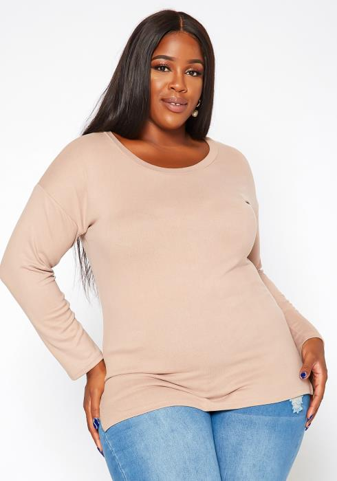 Asoph Plus Size Casual Crew Neck Long Sleeve Top