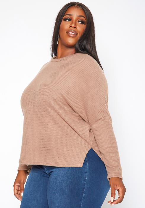 Plus Size Solid Waffle Knit Sweater