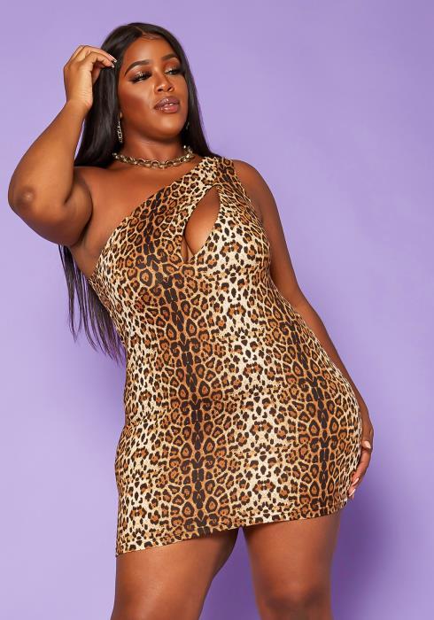 Plus Size Leopard Print One Sleeve Mini Dress