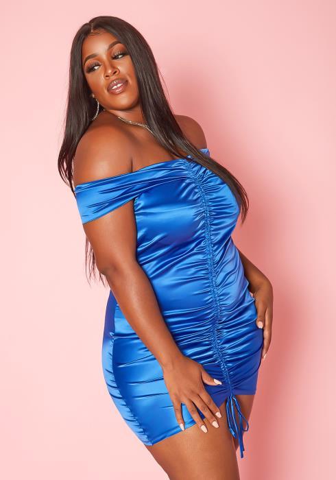 Plus Size Drawstring Hem Off Shoulder Satin Dress