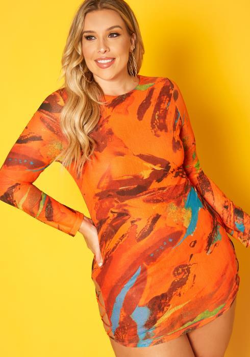 Plus Size Abstract Pattern Bodycon Mini Dress