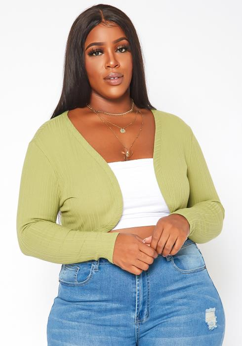 Plus Size Open Front Cropped Cardigan