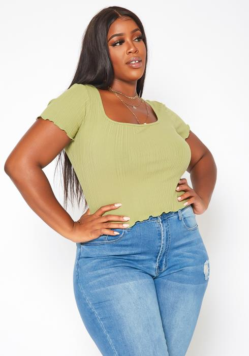 Plus Size Ribbed Square Neck Top
