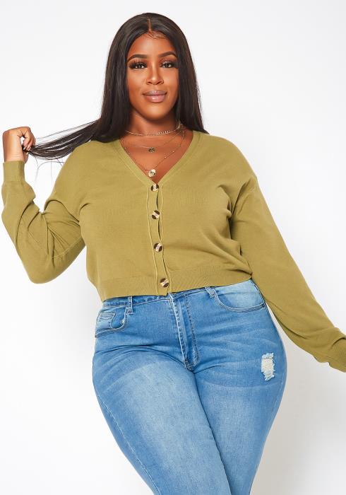 Plus Size Button Front Soft Knit Cardigan
