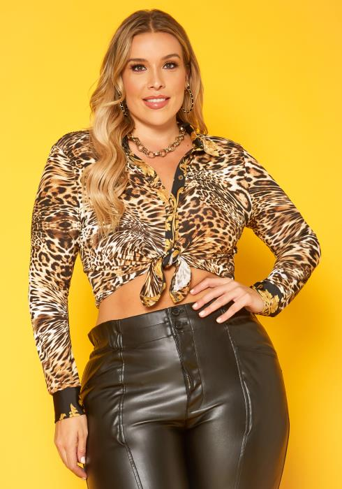 Plus Size Leopard Print Collar Shirt