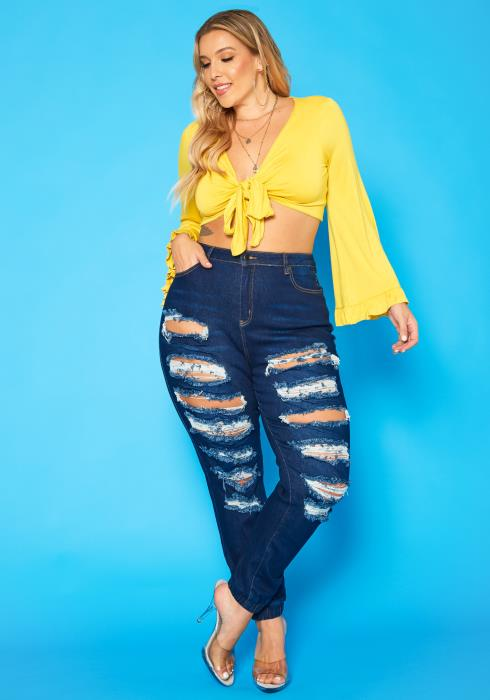 Plus Size Distressed Ankle Cuffed Jeans