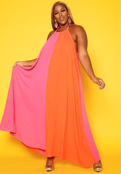 Plus Size Color Splice Flare Maxi Dress