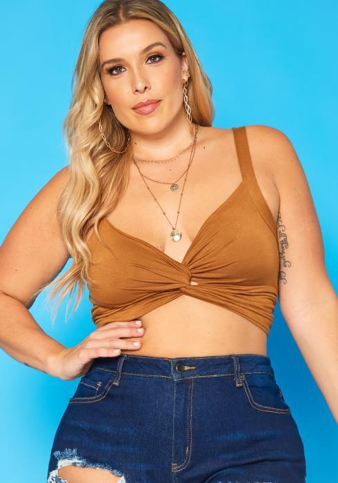 Plus Size Twist Hem Cami Crop Top