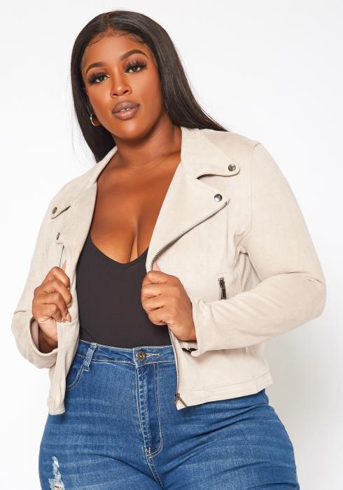 Plus Size Suede Notch Collar Jacket