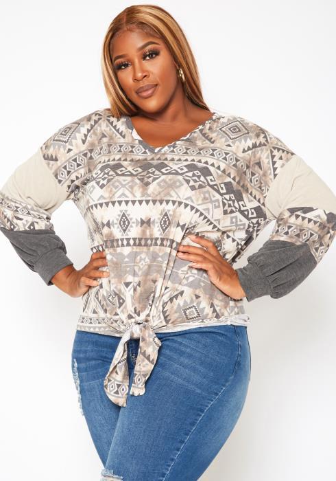 Plus Size Aztec Print Tie Front Sweater