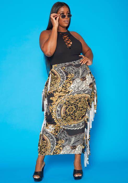 Plus Size Abstract Brocade Print Bodycon Maxi Skirt