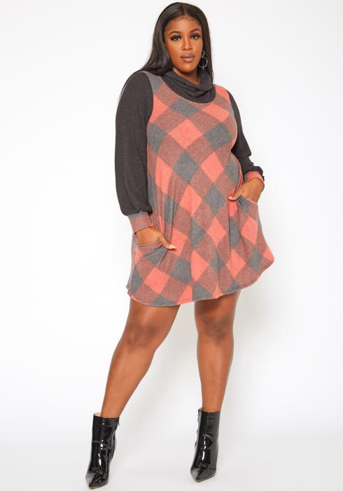 Plus Size Plaid Print Funnel Neck Mini Dress