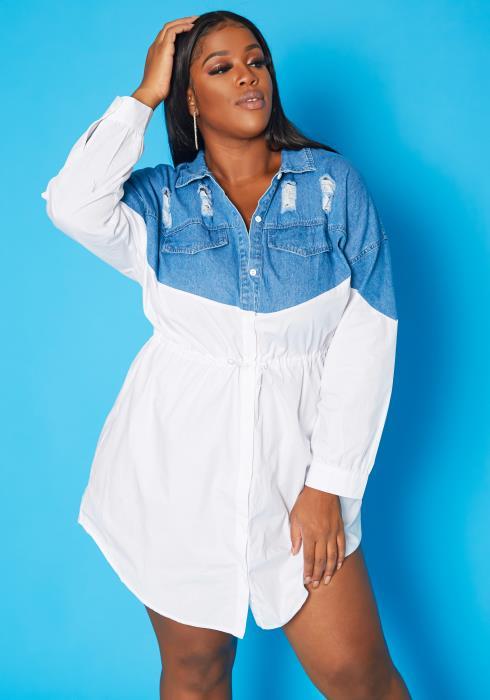 Plus Size Denim Splice Collar Mini Dress