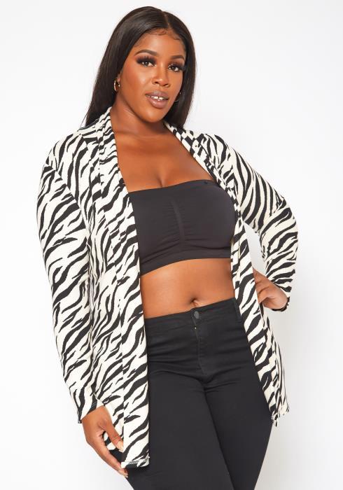 Plus Size Zebra Print Open Front Cardigan