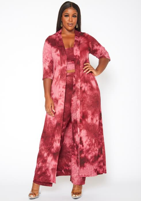 Plus Size Magenta Tie Dye Three Piece Set