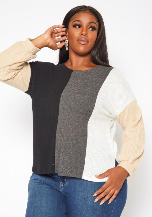 Plus Size Color Block Waffle Knit Sweater