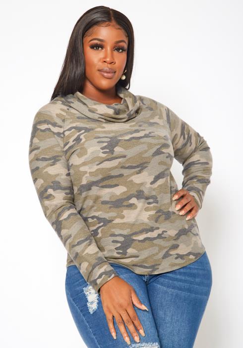 Plus Size Camo Pattern Funnel Neck Sweater
