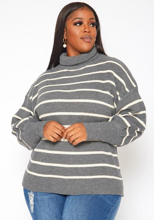 Plus Size Striped Print Turtleneck Sweater