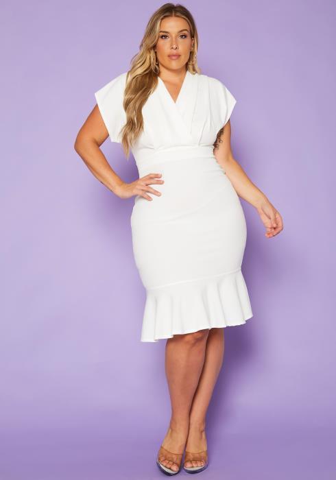 Plus Size Dolman Sleeve Ruffle Flare Midi Dress