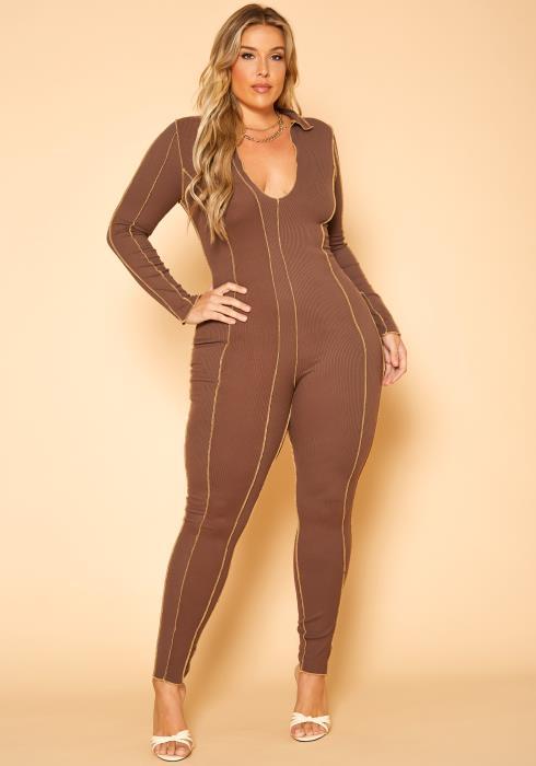 Plus Size Stitch Trim Bodycon Jumpsuit