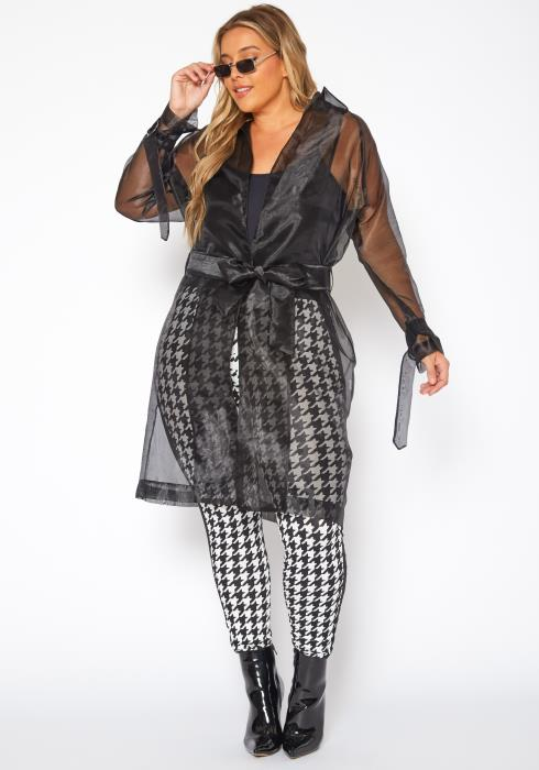 Plus Size Sheer Lined Trench Jacket