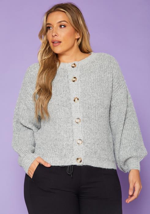 Plus Size Button Front Knit Cardigan
