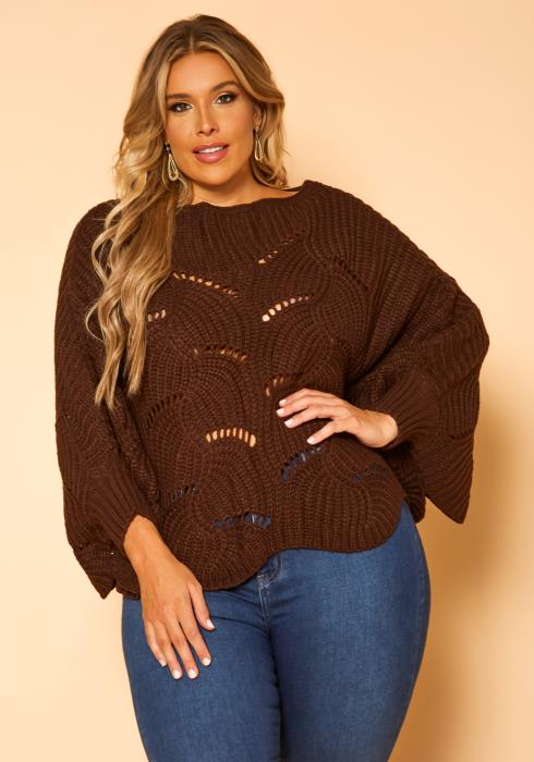 Plus Size Cable Knit Dolman Sleeve Sweater