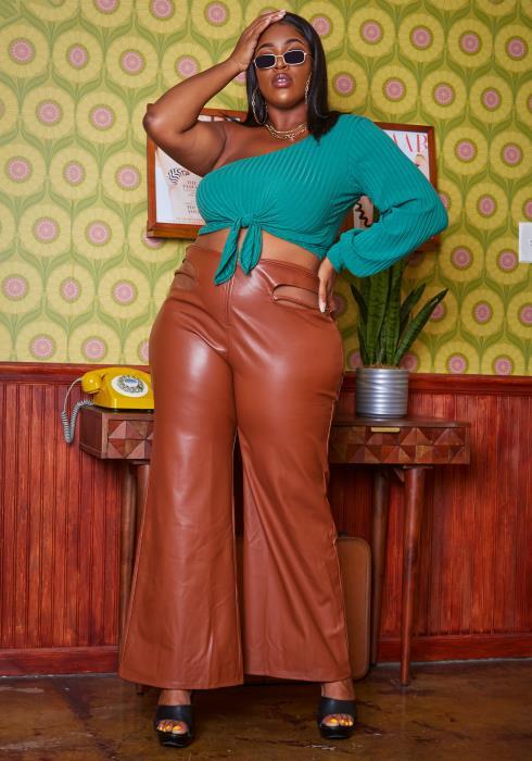 Plus Size PU Leather Slit Waist Hem Pants