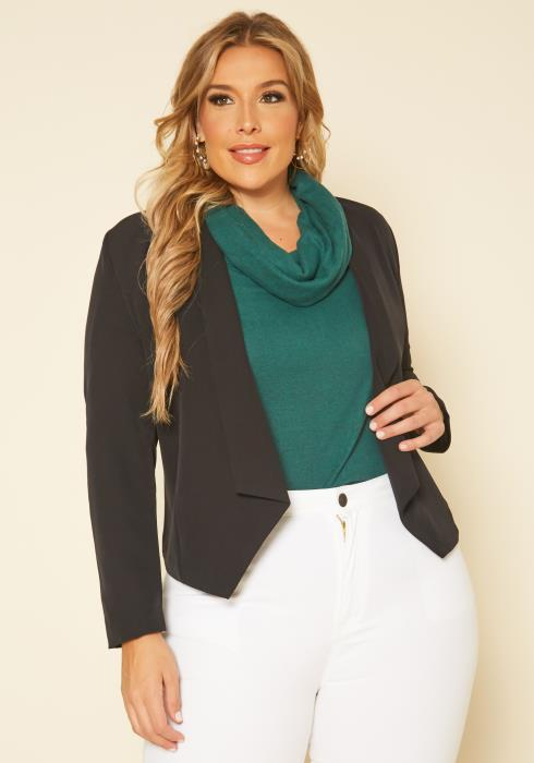 Plus Size Notch Collar Open Front Blazer