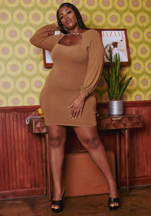 Plus Size Chainlink Detail Knit Mini Dress