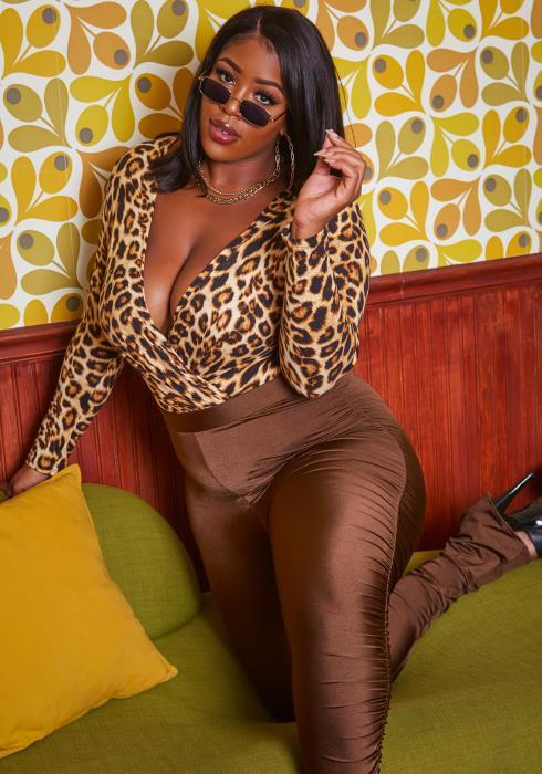 Plus Size Leopard Print Long Sleeve Bodysuit