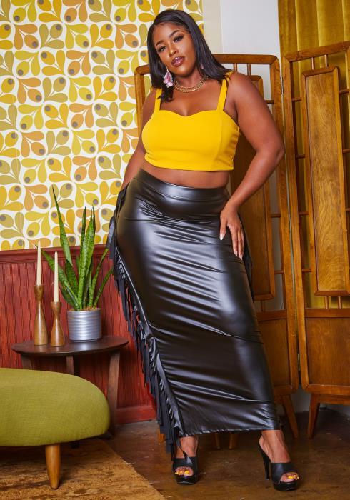 Plus Size Faux Leather Fringe Hem Maxi Skirt